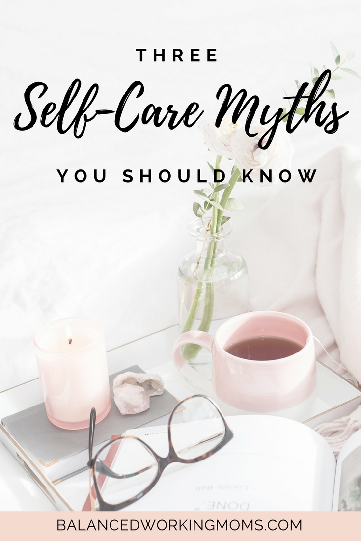 Nightstand with glasses and candle with text overlay - 3 Self-Care Myths You Should Know