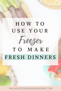 Woman Cutting Veggies with Text Overlay - How to Use Your Freezer to Make Fresh Dinners
