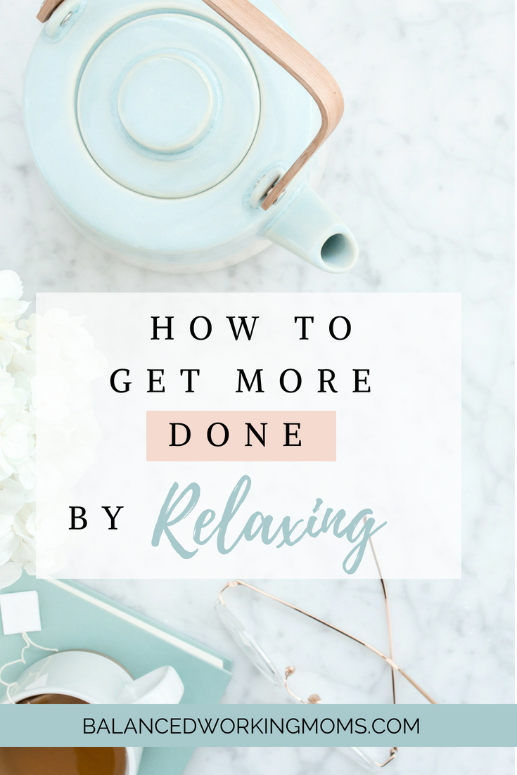 Computer and tea kettle with text overlay - 'How to Get More Done by Relaxing'