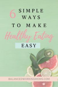 Picture of fruit with a green background with text overlay - 'Six simple ways to make healthy eating easier'