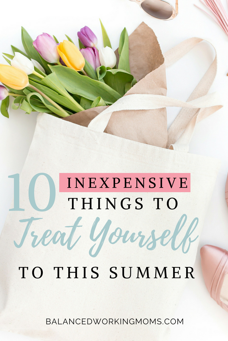 Canvas bag with flowers and text overlay '10 inexpensive things to treat yourself to this summer'