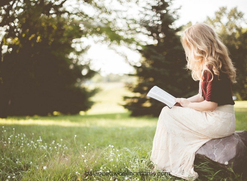 Picture of a woman reading outdoors