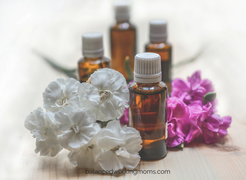 Picture of essential oils and flowers