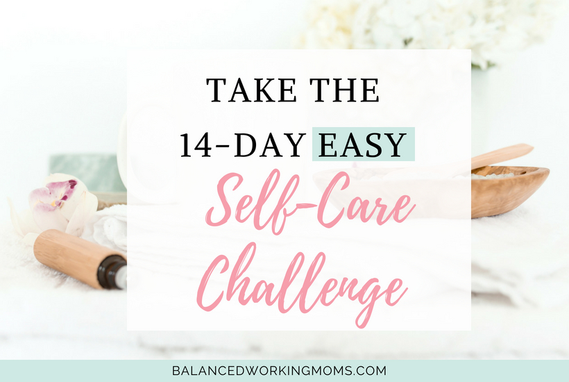 Bath salts with text overlay 'Take the 14-day easy self-care challenge'