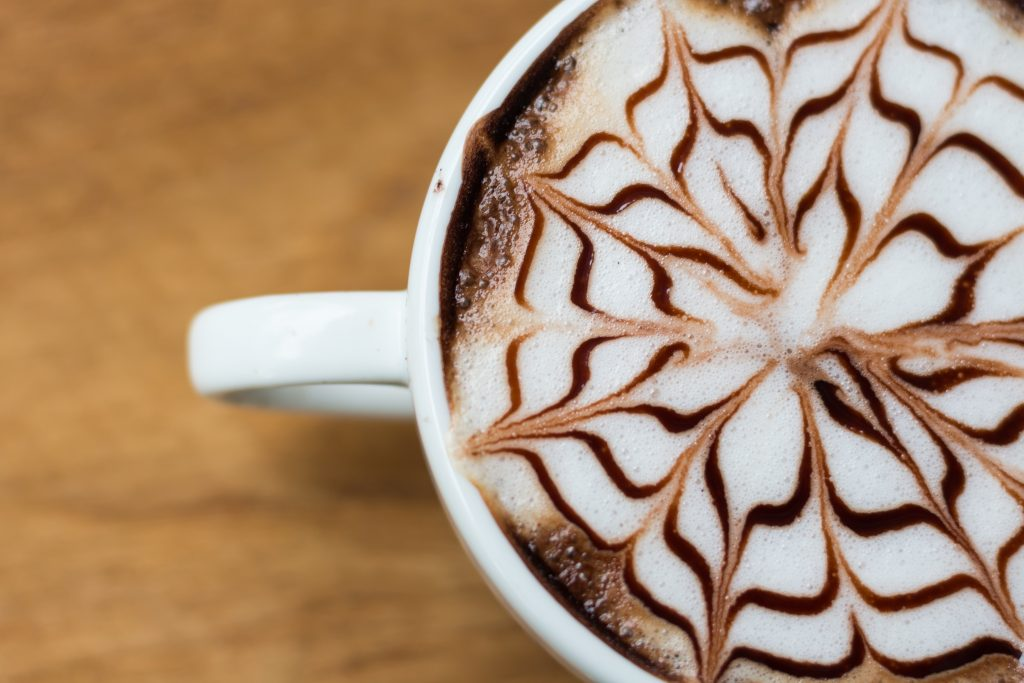 Cup of coffee with a pretty design