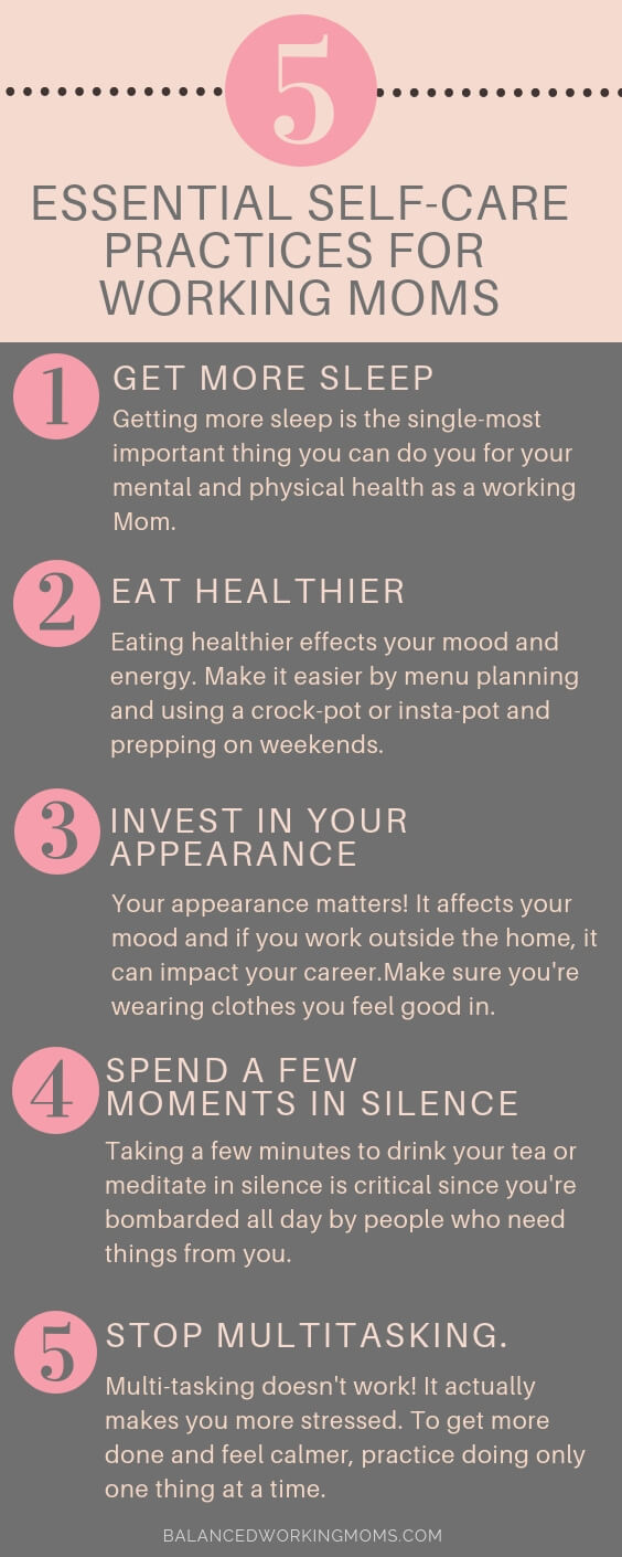 Info graph with the text 'The 5 most important self-care practices for Working Moms.'