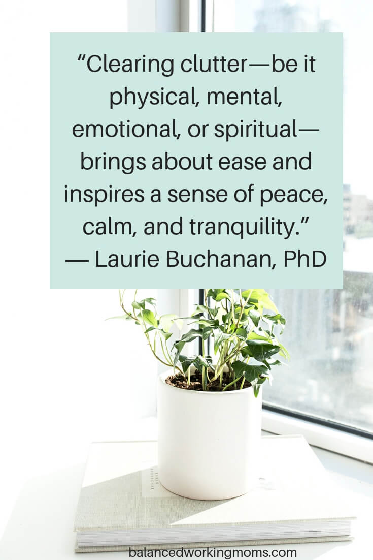Plant with text overlay 'Clearing clutter-be it physical, mental, emotional, or spiritual-brings about ease and inspires a sense of peace, calm, and tranquility from Laurie Buchanan'
