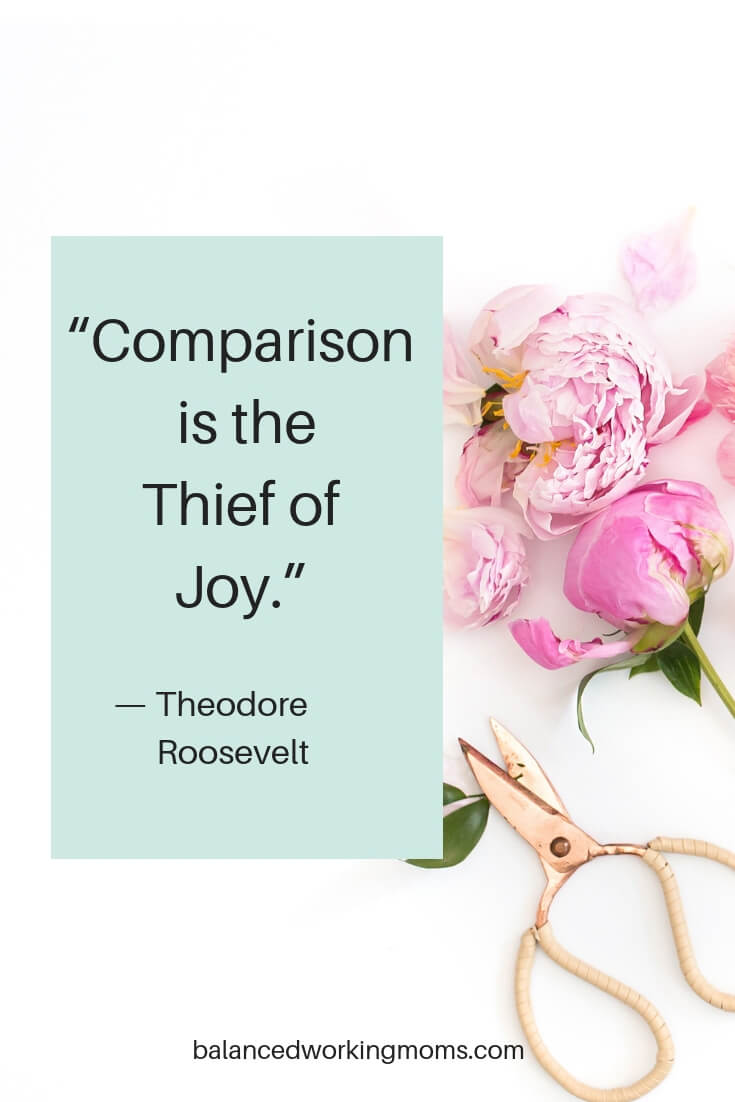 Flowers with quote - 'Comparison is the Thief Of Joy'